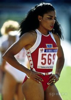 Florence Delorez Griffith Joyner[1] (December 21, 1959 – September 21, 1998), also known as Flo-Jo, was an American track and field athlete. She is considered the fastest woman of all time[2][3][4] based on the fact that the world records she set in 1988 for both the 100 m and 200 m still stand and have yet to be seriously challenged. She died in her sleep as the result of an epileptic seizure in 1998 at the age of 38. She attended University of California, Los Angeles (UCLA) ... (Wiki)