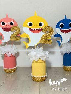 2nd Birthday Party For Girl, Shark Birthday Cakes, Birthday Ideas, Shark Party Decorations, 2 Baby, Do It Yourself Baby, Baby Shark, Chalk Paint, Mason Jar