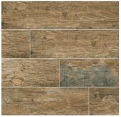 MS International Redwood Series Natural 6x24 Wood Hand Scraped Plank Hand Scraped Porcelain Tile
