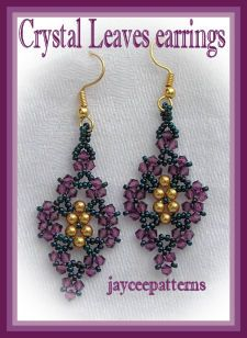 crystal leaves earrings- triangle weave-netting stitch  size 0.75x1.6-without ear wires