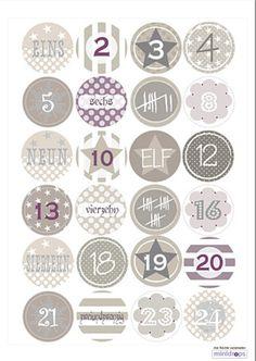 Adventskalenderzahlen - ADVENTSKALENDER * ZAHLEN * Sticker Taupe*Aufkleber - ein Designerstück von minidrops bei DaWanda