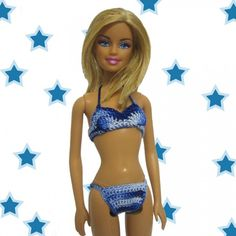 Handmade crocheted clothes for fashion dolls Barbie and Blythe, crocheted flower appliques: Handmade crocheted bikini for Barbie doll