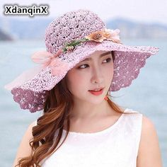 717929c797a XdanqinX Summer Women s Straw Hat Foldable Oversized Visor Sun Hats For  Women Anti-UV Fashion