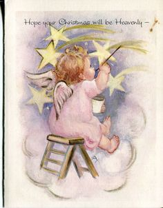 Vintage Christmas Card: Little Angel Painting Stars
