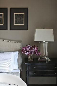 Catherine Kwong Design: Ethereal bedroom with warm gray paint color, Crate & Barrel Colette Bed, gray silk ...