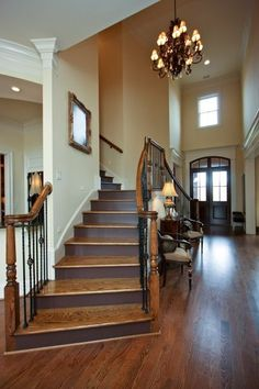 entrances/foyers - staircase, double staircase, bridal staircase, double stair case at entrance I like the dark painted risers. Style At Home, Foyers, Double Staircase, Staircase Spindles, Stair Risers, Banisters, Home Interior, Interior Design, Interior Ideas