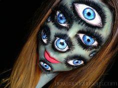 Maquillage Halloween aux nombreux yeux