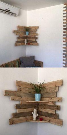 Sehr schöne Diy Holzpaletten Ecke Regal Frische Idee # Schöne # Ecke ...  #diyfurnitureideaslivingroom #frische #holzpaletten #regal #schone