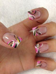 Pink black and white abstract nail art