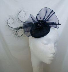 Elegant Dark Navy Midnight Blue Curl Feather Crinoline & Pearl Wedding Fascinator Mini Hat via Etsy