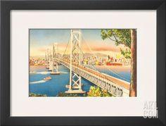 Oakland Bridge, San Francisco, California, USA Framed Art Print at Art.com
