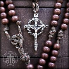 Copper Paracord Rosary  - Great for outdoor use, soldiers, first responders, or everyday carry.  VERY strong. Full size 550 Paracord.
