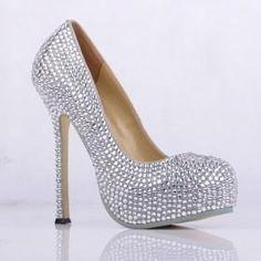 Y silver diamond women High heel Platform Pumps  women dress shoes wedding party shoes