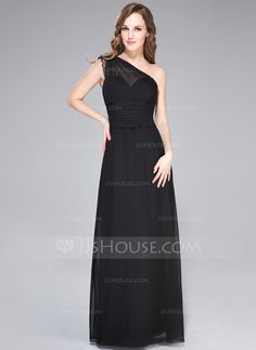 Sheath/Column One-Shoulder Floor-Length Chiffon Evening Dress With Lace (007027463)
