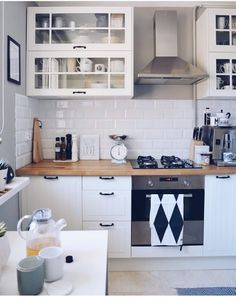 The fact that you have (or will have) a small kitchen isn't that bad as everyone can think. Many people dream about big spacious kitchens with the island but the reality isn't that bright. Even I have to cook and eat in a small kitchen. Apartment Kitchen, Home Decor Kitchen, Kitchen Interior, New Kitchen, Interior Design Living Room, Home Kitchens, Kitchen Small, Small Modern Kitchens, Ikea Home