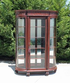 Huge~ Victorian Mahogany Bow Front China Cabinet Paw Feet Attr. RJ Horner c1890 #Victorian