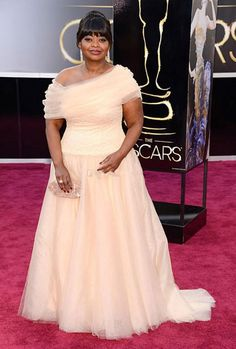 Red Carpet Coral 2015 Plus Size Formal Dresses Octavia Spencer in 85th Oscar Gowns Evening Dresses Formal Party Gowns Celebrity Dress