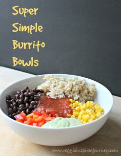 Tired of all the cooking from the holidays? This easy lunch or dinner comes together in just a few short minutes so you can RELAX!  Super Simple Burrito Bowls!