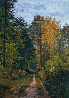 """Wooded Path"" ・ by Claude Monet ・ Completion Date: 1865 ・ Style: Impressionism ・ Genre: landscape ・ Technique: Oil on Canvas Claude Monet, Monet Paintings, Landscape Paintings, Landscapes, Renoir, Artist Monet, Artist Art, Wood Path, Impressionist Paintings"