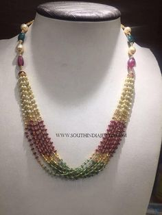 Gold Pearl Mala Designs, Gold Pearl Mala Models With Weight 23 Grams. Pearl Necklace Designs, Beaded Jewelry Designs, Jewelry Design Earrings, Gold Jewellery Design, Pearl Jewelry, Gold Jewelry, Jewelry Sets, Gold Chain Design, Pearl Design