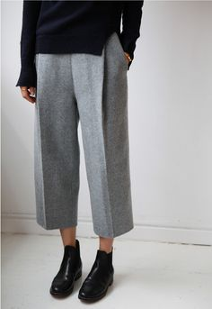 Cropped, Loose Fit, Gray, Flannel Trousers, Ankle Boots, and Navy Jumper, Split at Waist and Wrists | Death by Elocution