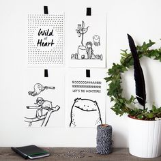 Explorer Collection / 4-Pack A5 Prints - House of Motion, Scandinavian nursery, baby room, nursery wall art, black and white prints