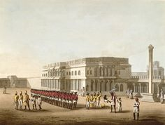 East India Company Sepoys (Indian infantrymen) in red coats outside Tipu Sultan's former summer palace in Bangalore, 1804