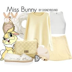 Miss Bunny from Bambi Disneybound Cute Disney Outfits, Disney Themed Outfits, Disney Dresses, Cute Outfits, Disney Clothes, Disney Bound Outfits Casual, Skater Outfits, Disney Shirts, Casual Cosplay