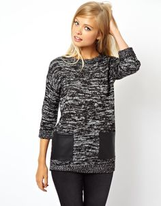 ASOS | ASOS Sweater With Leather Look Pockets at ASOS