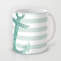 MINT GLITTER ANCHOR Mug by colorstudio - $15.00