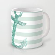 MINT GLITTER ANCHOR Mug by colorstudio - $15.00