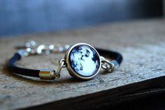 Moon bracelet Full Moon adjustable leather bracelet by ShoShanaArt