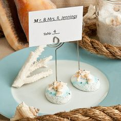 Life's a Beach Themed Place Card Holders - Share some seaside magic with these Life's a #BeachThemed Place Card Holders, You'll greet your guests with that special warm and beachy feeling as soon as they walk in the door and find their seating assignments displayed on these playfully perfect place card holders.