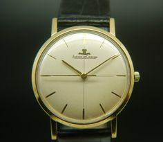 18ct gold Jaeger LeCoultre Wristwatch Circa 1950s with alligator strap #christmaspresent #perfectgift