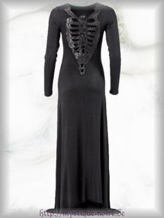 $100 Long-Gothic-Dress-Evening-Gown-Ribcage-Skeleton-Goth-Punk-Metal