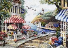 Cafe by the Sea Counted Cross Stitch Kit - Overstock™ Shopping - Big Discounts on Dimensions Cross Stitch Kits Embroidery Kits, Cross Stitch Embroidery, Cross Stitch Designs, Cross Stitch Patterns, Cross Stitches, Dimensions Cross Stitch, Cross Stitch Landscape, Am Meer, Counted Cross Stitch Kits