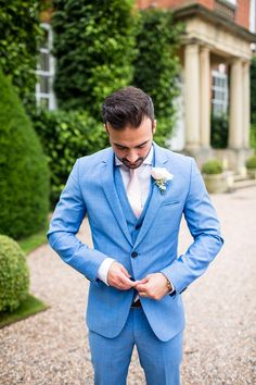 Groom in Blue Hugo Boss Suit - Jo Hastings Photography | Romantic Blush Pink Wedding at Iscoyd Park in Shropshire | Pronovias Bridal Gown | Debenhams Bridesmaid Dresses | Hugo Boss Suit