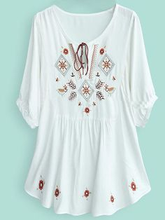 White Batwing Sleeve Tribal Embroider Tunic Top: