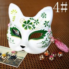 Japanese Style Hand-painted Half Face Fox Halloween Costume Carnival Party Mask #NewBrand