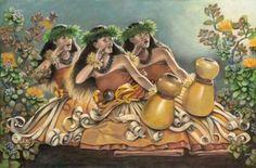 hula noho dancers with ipu heke                                                                                                                                                                                 More Hawaiian Dancers, Hawaiian Art, Hawaiian Theme, Polynesian Art, Polynesian Culture, Polynesian People, Polynesian Designs, Islas Cook, Hula Dancers