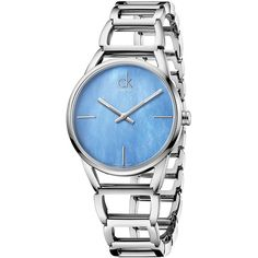 Calvin Klein Stately Blue Mother-of-Pearl and Stainless Steel Watch ($340) ❤ liked on Polyvore featuring jewelry, watches, silver, stainless steel jewellery, calvin klein, blue jewelry, mother of pearl jewelry and mother of pearl watches