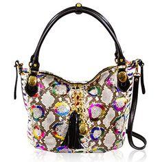 Marino Orlandi Women's Large Handbag Italian Designer Tote Purse Genuine Leather Top Handle Satchel Purse Crossbody Bag Hobo in Rainbow Python Embossed Design
