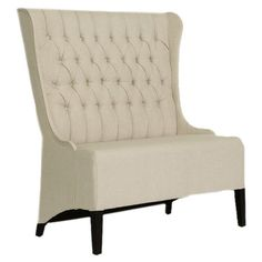 Button-tufted wingback bench with a birch wood frame.  Product: BenchConstruction Material: Wood, linen and polyureth...