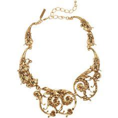Oscar de la Renta 24-karat gold-plated scroll necklace