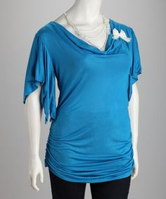 Take a look at this Blue Plus-Size Angel-Sleeve Top & Necklace Set by Yummy on #zulily today!