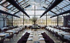 An view of the interior of restaurant de Kas (restaurant the Greenhouse)