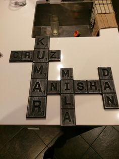 Distressed brown Scrabble Family sign