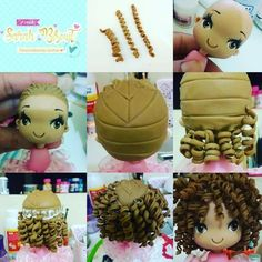Fondant hair for your cakes! Love the texture on this hair, great for sugar figurines too! And that rockabilly hairstyle? Fondant Figures Tutorial, Cake Topper Tutorial, Cake Toppers, Polymer Clay Dolls, Polymer Clay Crafts, Polymer Clay Creations, Fondant Hair, Cold Porcelain Tutorial, Fondant People