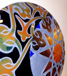 """BLACK MOON"" - Lighting Circle - Signed by the Glass Art Creative Josep SanJuan - Tech.: Glass Fusing with Titanium, Gold & Platinum with a Retro-LED lighting system Diameter: 98 cm, Weight: 25 kgs. Cat.: Metallic & Dichroic. Ref.: 2013-03-01-00"