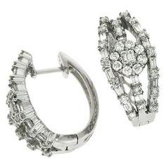 14K White Gold 1.42cttw Round Diamond Earring